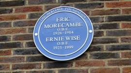 Memorial plaque for Eric Morecambe and Ernie Wise at Teddington Studios