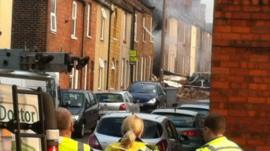 Aftermath of an explosion, thought to be caused by a gas leak, in Newark
