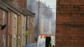 Scene of suspected gas explosion in Nottinghamshire