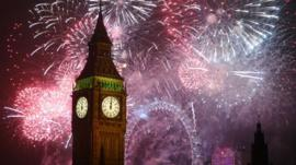 Fireworks at Big Ben, Houses of Parliament, London