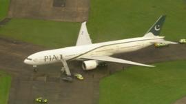 Pakistan International Airline plane at Stansted Airport