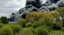Greenfield factory fire - photo by Tony Riseley