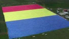 The flag seen from the air