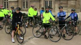 Cyclists ahead of ride