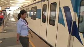 Priya Sachan approaches her train carriage
