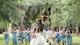 Katie Young and James Lowder, along with their wedding party, are pictured being chased by a T-rex