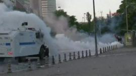 Police fire water cannons