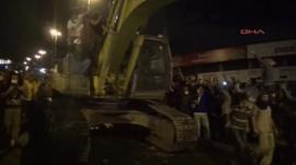 Bulldozer in Istanbul street