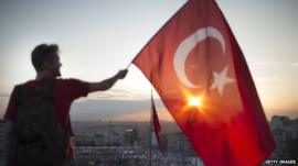 Man with Turkish flag
