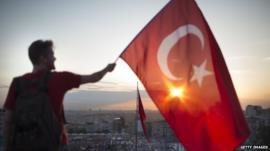 Man with Turkish flag