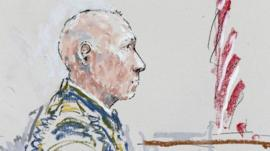 In this detail from a courtroom sketch, US Army Staff Sgt. Robert Bales appears 5 June 2013