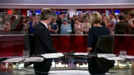The Queen behind the BBC newsroom studio