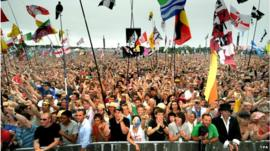 Music fans at Glastonbury
