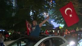 Protesters in Ankara with Turkish flags