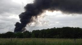 Smoke plume from a fire at a Kidderminster recycling centre