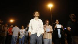 Erdem Gunduz (C) stands in a silent protest at Taksim Square in Istanbul early June 18, 2013