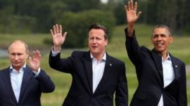 Vladimir Putin, David Cameron and Barack Obama