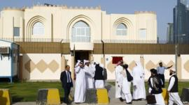 Delegates arriving at the office in Doha