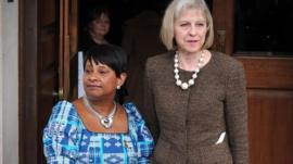 Home Secretary Theresa May (right) with Doreen Lawrence, mother of murdered teenager Stephen Lawrence