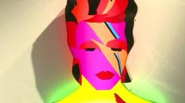 A light box sculpture of David Bowie
