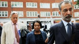 Doreen Lawrence and her legal team arrive at the Home Office