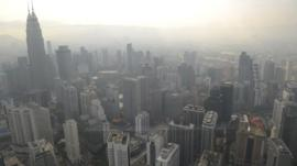 A haze hangs over Singapore and Malaysia