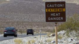 Sign warns in Death Valley National Park in California