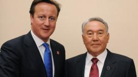 UK Prime Minister David Cameron with President of Kazakhstan Nursultan Nazarbayev