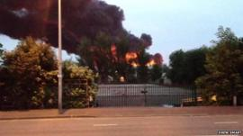 A member of the public films plumes of smoke from the Smethwick plant