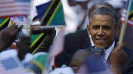 President Obama is greeted by well-wishers in Dar es Salaam