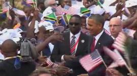 President Obama greeted in Dar es Salaam