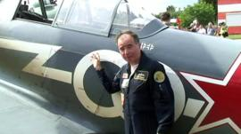 British pilot Maxi Gainza and his Yak-3 fighter plane