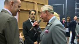 Prince Charles speaks into the Dalek voice machine