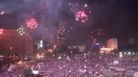 Fireworks in Tahrir square