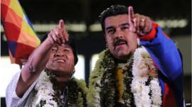 Bolivia's President Evo Morales and Venezuelan President Nicolas Maduro