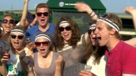 Fans on Murray Mound in Wimbledon