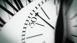 Detail on analogue clock face