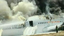 The crashed Asiana plane in San Francisco