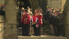 Lee Rigby's coffin after the service