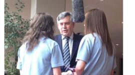 Gordon Brown speaks to School Reporters from Birmingham