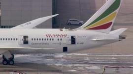 The tail Ethiopian Airlines plane at Heathrow
