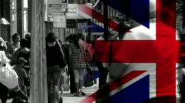 Street scene with graphic insert of Union Jack