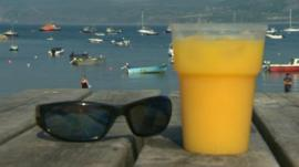 Drink and sunglasses