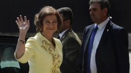 Spanish Queen Sofia waves her hand upon arrival for the inauguration ceremony of the Parador de Corias hotel in Cangas del Narcea, northern Spain