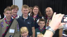 Major Tim Peake meeting scouts in Glasgow