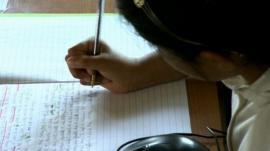 Schoolgirl writing