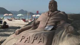 Sand sculpture of the Pope in Rio