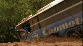 A bus buried in the landslide
