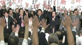 Lib Dem politicians celebrate in Japan