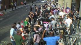 Media gathered outside St Mary's in Paddington